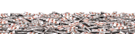 thousand: Panorama stacks Russian rubles  3D illustration of panoramic stacks of Russian five thousand ruble notes Stock Photo