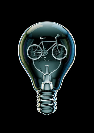Bicycle bulb concept  3D illustration of bicycle as filament inside light bulb