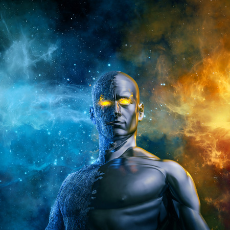 Elemental galactic hero  3D illustration of half stone half metal male figure with space background