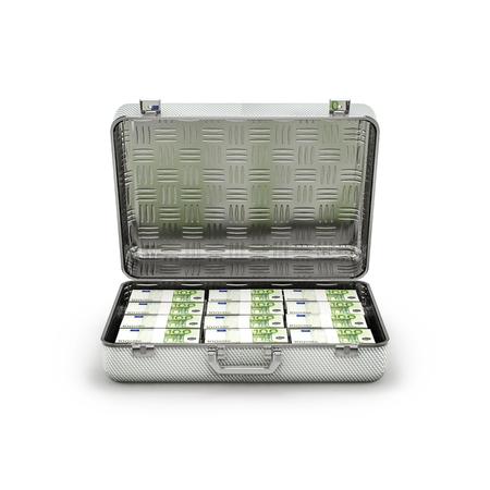 ransom: Briefcase ransom euros  3D illustration of stacks of hundred euro notes inside metal briefcase