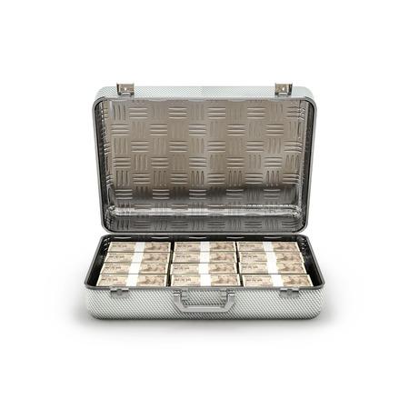 ransom: Briefcase ransom yen  3D illustration of stacks of ten thousand yen notes inside metal briefcase