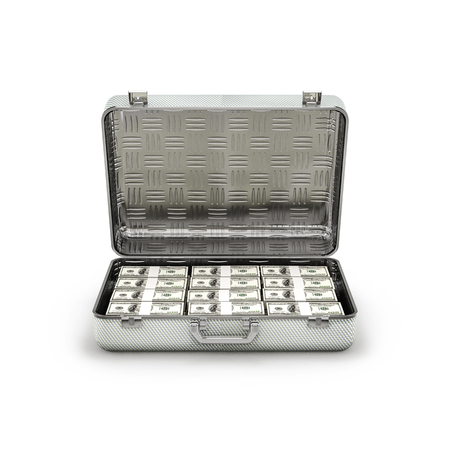 ransom: Briefcase ransom dollars  3D illustration of stacks of hundred dollar bills inside metal briefcase