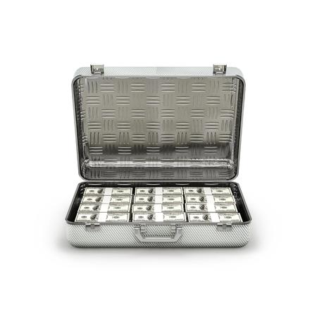 ransom: Briefcase ransom dollars  3D illustration of stacks of hundred dollar bills inside metal briefcase