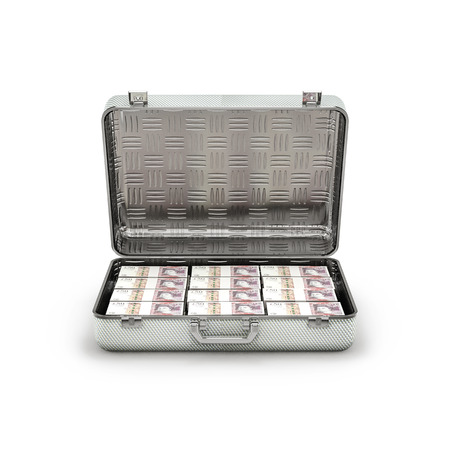 ransom: Briefcase ransom pounds  3D illustration of stacks of fifty pound notes inside metal briefcase