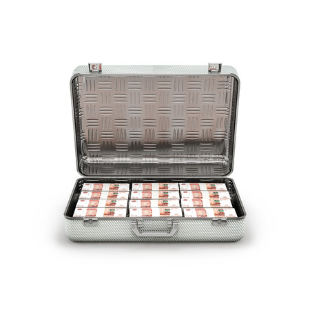 ransom: Briefcase ransom Russian rubles  3D illustration of stacks of Russian five thousand ruble notes inside metal briefcase Stock Photo