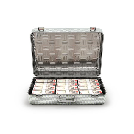 ransom: Briefcase ransom rupees  3D illustration of stacks of thousand rupee notes inside metal briefcase