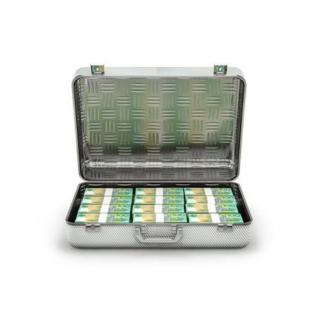 ransom: Briefcase ransom Australian dollars  3D illustration of stacks of Australian hundred dollar bills inside metal briefcase