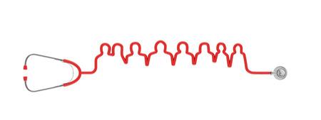 청진기 튜브의 청진기 의료 팀  3D 그림 사람의 그룹을 형성
