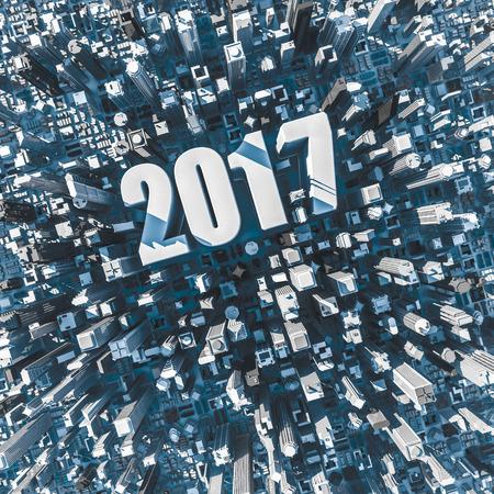 미드 타운에서 텍스트 2017와 공중 도시보기의 도시 2017 개념  3D 그림