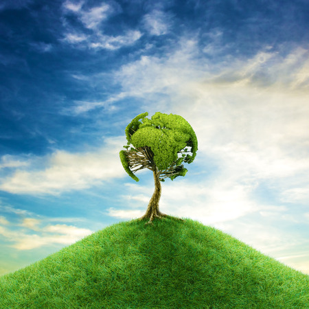 gaia: World tree concept  3D illustration of tree foliage forming planet Earth on hill top Stock Photo