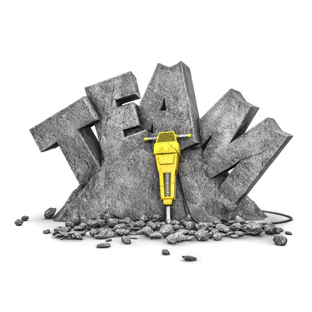 team building: Team building exercise  3D illustration of word team cut from stone block with jackhammer