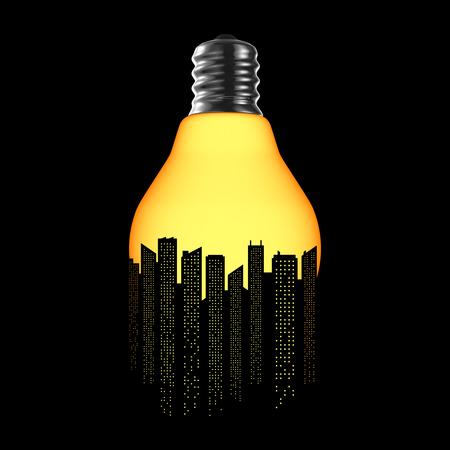 City bulb cracked  3D illustration of cracked light bulb forming night time city skyline