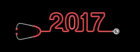 2017 텍스트를 형성 청진기 튜브의 청진 2017 년  3D 그림 스톡 콘텐츠