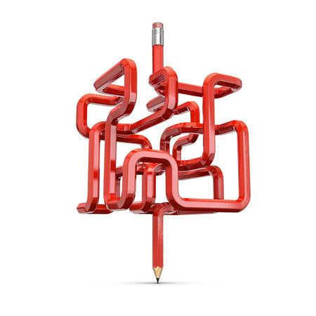 Pencil maze concept  3D illustration of red wooden pencil forming maze