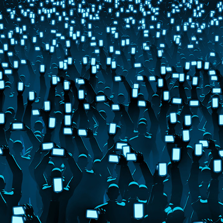 Cell phone crowd  3D illustration of audience holding up cell phones to record event