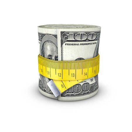 tightening: Tape measure dollars  3D illustration of measuring tape tightening around roll of bank notes