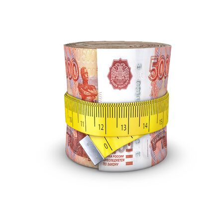 tightening: Tape measure Russian rubles  3D illustration of measuring tape tightening around roll of bank notes Stock Photo