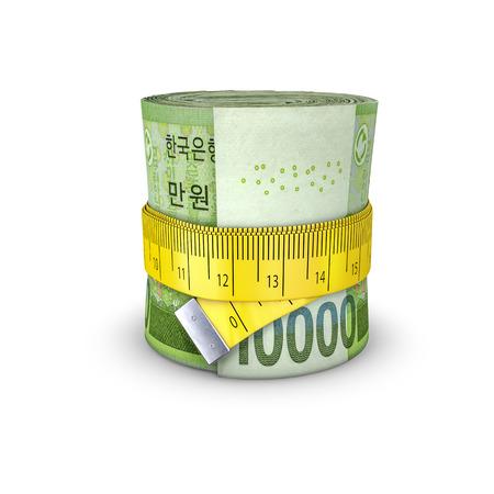 tightening: Tape measure South Korean won  3D illustration of measuring tape tightening around roll of bank notes