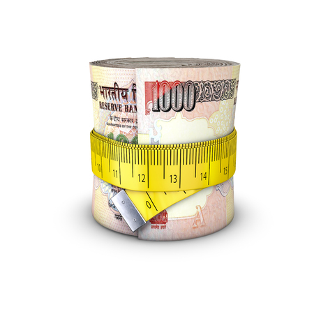rupees: Tape measure rupees  3D illustration of measuring tape tightening around roll of bank notes Stock Photo