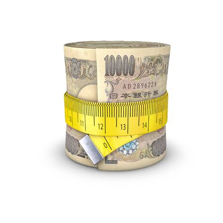 tightening: Tape measure yen  3D illustration of measuring tape tightening around roll of bank notes