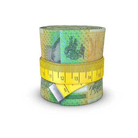 tightening: Tape measure Australian dollars  3D illustration of measuring tape tightening around roll of bank notes