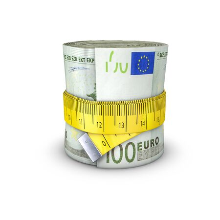 tightening: Tape measure euros  3D illustration of measuring tape tightening around roll of bank notes Stock Photo