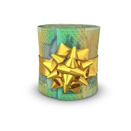 rolled up: Money roll gift Australian dollars  3D illustration of rolled up Australian hundred dollar bills tied with ribbon