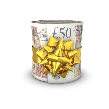 Money roll gift pounds  3D illustration of rolled up fifty pound notes tied with ribbon