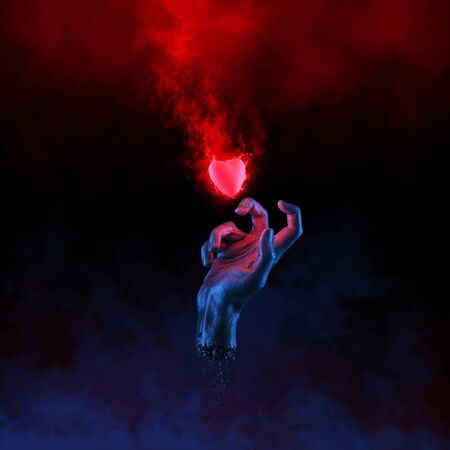hot couple: The fleeting heart  3D illustration of hand grasping at burning heart Stock Photo