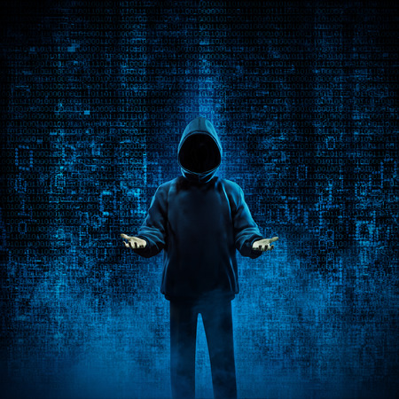 Hacker for hire  3D illustration of shady hooded figure offering his services in binary data environment. Image including figure totally computer generated. Stock Photo
