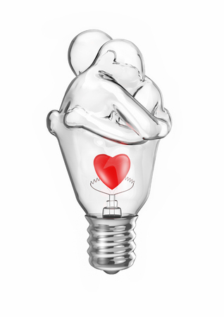 Light bulb couple  3D illustration of embracing human figures forming light bulb with heart inside