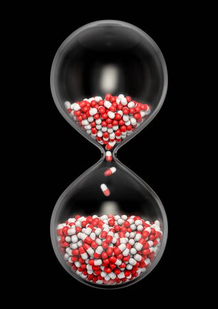 Time for medicine  3D illustration of hourglass filled with medical capsules