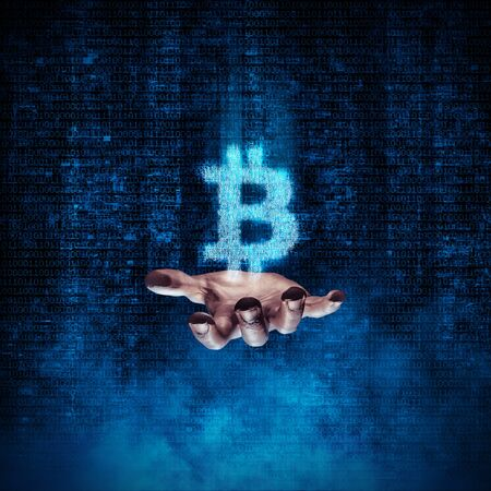 Binary bitcoin hand  3D illustration glowing bitcoin symbol formed by binary digits floating above open hand