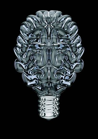 Glass light bulb brain  3D illustration of brain shaped light bulb