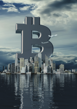 Business city bitcoin / 3D illustration of bitcoin symbol rising from modern city on the waterfront Archivio Fotografico