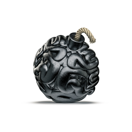 Brain bomb concept  3D illustration of metal bomb with fuse shaped like human brain