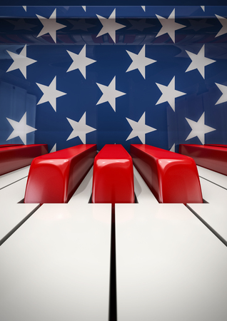 ピアノのキー米国ピアノの 3 D イラストレーション キーボード成形アメリカ国旗 写真素材
