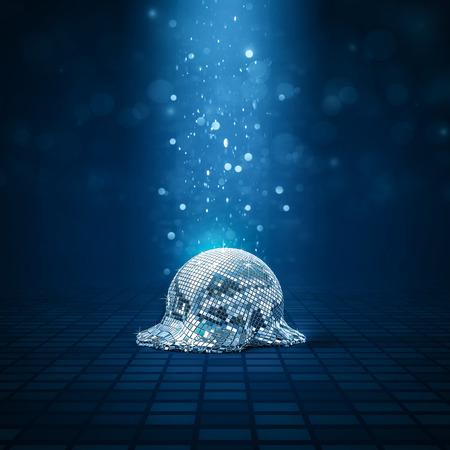 Melted disco ball / 3D illustration of fallen mirror ball melting on disco floor
