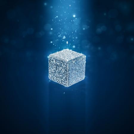 Disco ball cube  3D illustration of cube shaped glitter ball