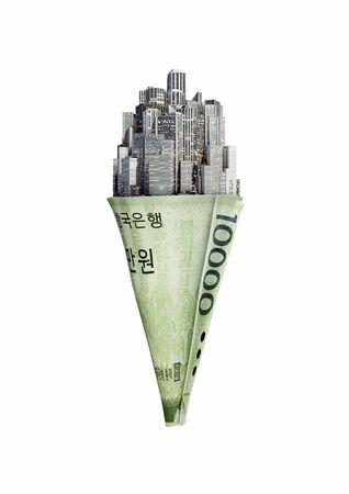 won: Money cone South Korean won  3D illustration of city ice cream cone with South Korean ten thousand won note