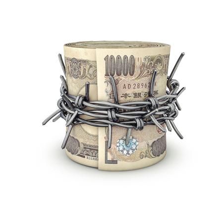 お金円を禁止の 3 D イラストレーションが有刺鉄線で結ば 1 万円札を重ね