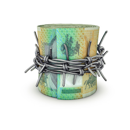 rolled up: Forbidden money Australian dollars  3D illustration of rolled up Australian hundred dollar bills tied with barbed wire