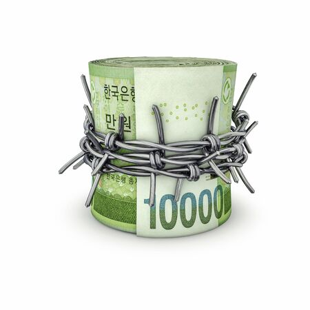Forbidden money South Korean won  3D illustration of rolled up South Korean ten thousand won notes tied with barbed wire Stock Photo