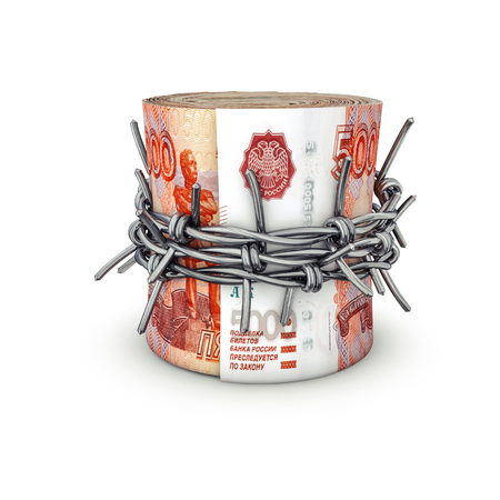 Forbidden money Russian rubles  3D illustration of rolled up Russian five thousand ruble notes tied with barbed wire