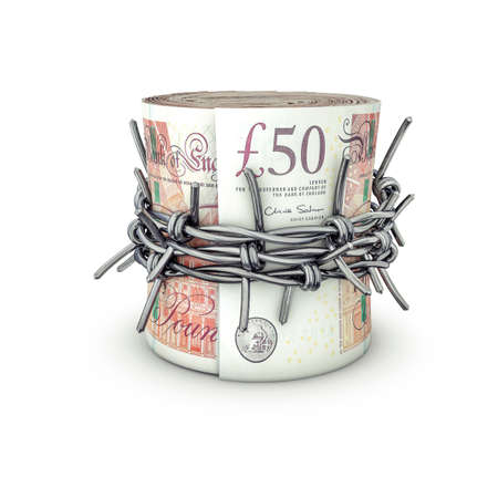 barbed: Forbidden money pounds  3D illustration of rolled up fifty pound notes tied with barbed wire