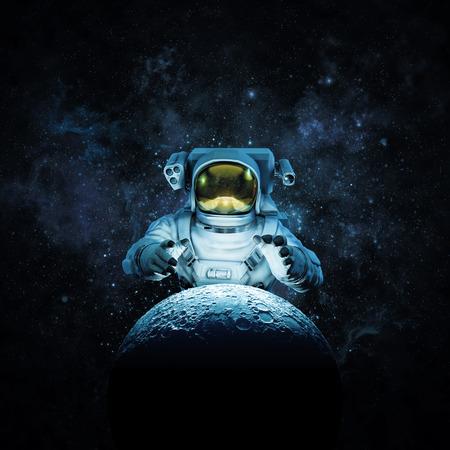 月のために達する宇宙飛行士の 3 D イラストが輝く月のために達する