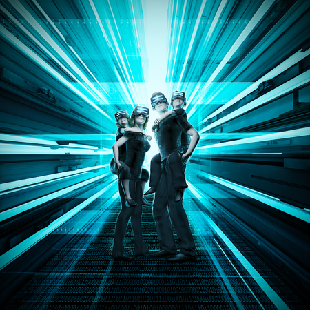 仮想現実家族 3 D イラストレーション コンピューターで生成された家族の一緒に仮想現実を体験