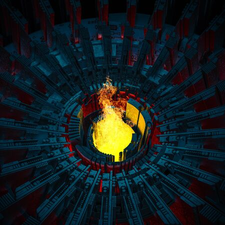 Blazing furnace concept  3D illustration of raging flames rising from industrial scifi forge Stock Photo