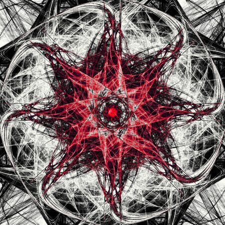 Dark magic fractal red  Combined fractal shapes forming organic star symbol
