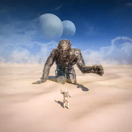 Giant in the desert  3D illustration of astronaut finding giant robot in sandy desert on alien planet with twin moons